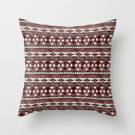 Black Red and Ivory African Pattern Throw Pillow