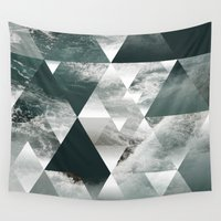 polygon Wall Tapestries featuring Waves polygon by cat&wolf