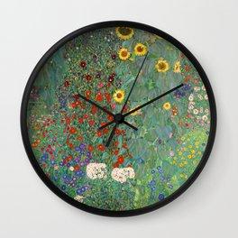 Farm Garden with Sunflowers - Gustav Klimt Wall Clock