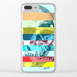 Striped Glitch Skull Clear iPhone Case