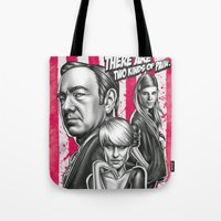 house of cards Tote Bags featuring Two Kinds Of Pain - House Of Cards by Renato Cunha