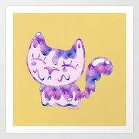 Purple Bubblegum Cat Art Print