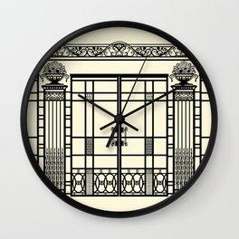 ART DECO, ART NOUVEAU IRONWORK: Black and Cream Wall Clock
