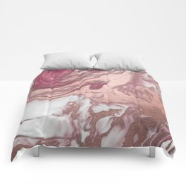 Rose Gold Pink White Painted Girly Abstract Marble Comforters