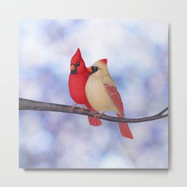 northern cardinals (bokeh) Metal Print