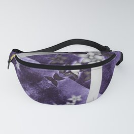 Silver flowers on purple and black textured mandala Fanny Pack