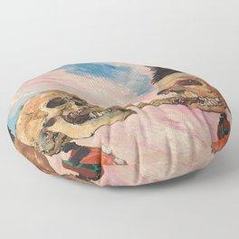 Skeletons Fighting portrait painting by James Ensor Floor Pillow