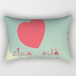 Arabic Words, valentine day flat red paper plane flying on the sky  Rectangular Pillow