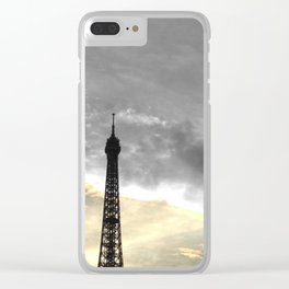Paris Eiffel tower black and white with color GOLD Clear iPhone Case