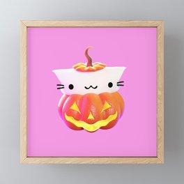 Pumpkin Cat Framed Mini Art Print