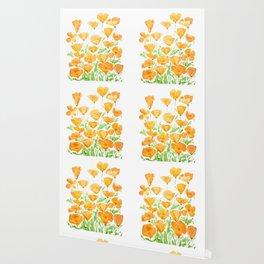 orange California  poppy watercolor Wallpaper
