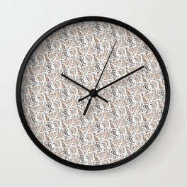 Classic Brown Batik Walang Pattern on White Background Wall Clock