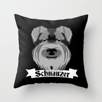 schnauzer Throw Pillows featuring Schnauzer by mailboxdisco