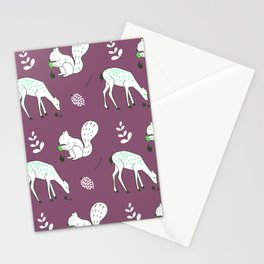 Wildlife - Happy Forest Animals Muted Berry Stationery Cards