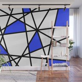 Geometric Modern triangles - white blue Wall Mural