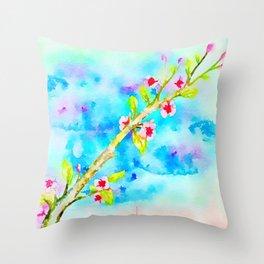 Blossom cherry tree Throw Pillow