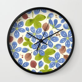 Pattern with hepatica flowers Wall Clock