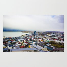 Rainbow Roofs and Buildings of Reykjavik Iceland Rug