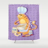 baking Shower Curtains featuring Baking with Cat: Step Four by MTerrenal