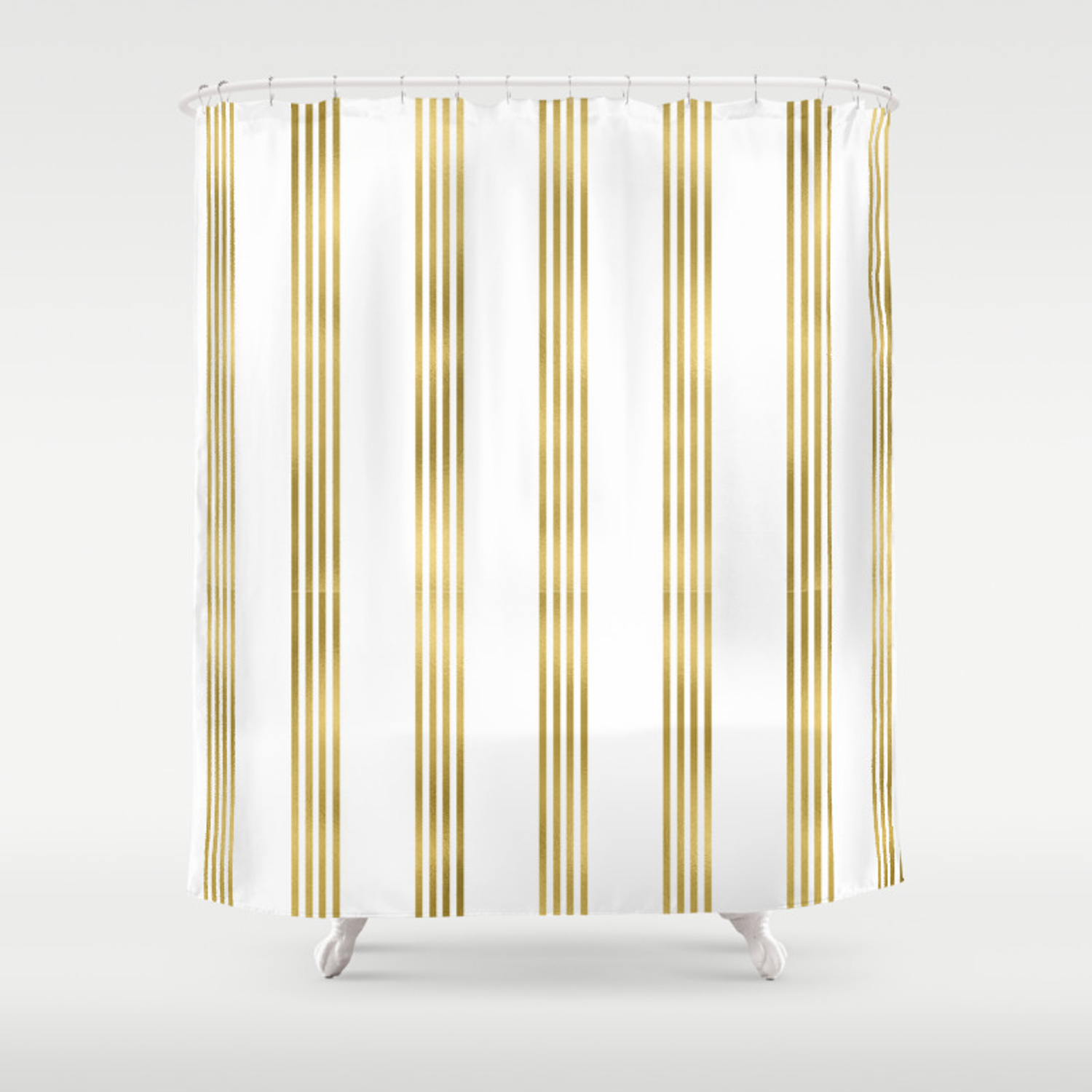 Simply Luxury Gold Small Stripes On Clear White Vertical Pattern Shower Curtain