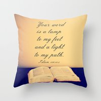 bible verses Throw Pillows featuring Bible  by Jo Bekah Photography