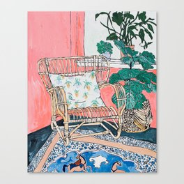 Cane Chair in Pink Interior Canvas Print