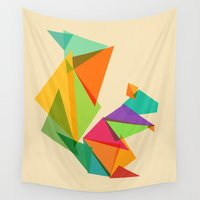 fractal Wall Tapestries featuring Fractal geometric Squirrel by Picomodi