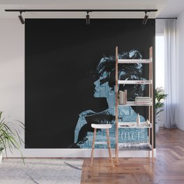HEAR OUR VOICE - black and blue Wall Mural