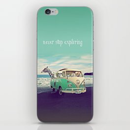NEVER STOP EXPLORING THE BEACH iPhone Skin