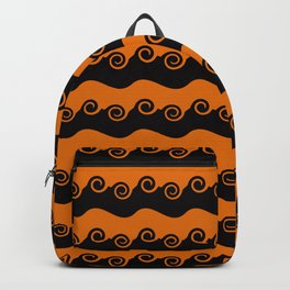 Background abstract - brightly colored orange-black spiral, pattern, texture design. Backpack