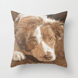 Border Collie Puppy Wren Throw Pillow