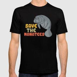 Save the Manatees - Funny Retro Vintage chubby Mermaid T-shirt