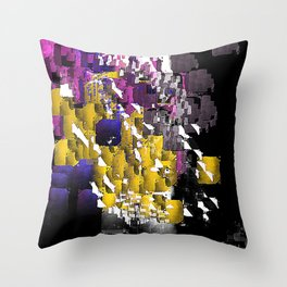 Decorative Abstract in Purple, Blue, Black, Yellow, and White Throw Pillow