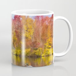 Autumn Pond With Mallard Duck Coffee Mug