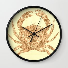Sepia Floral Crab  Wall Clock