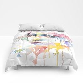 Mina watercolor face Comforters