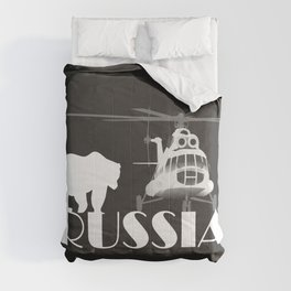 Helicopter Mi-8 and Polar Bear in Russia Comforters
