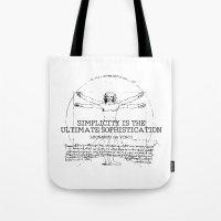 da vinci Tote Bags featuring Leonardo Da Vinci by Uriya Ganor