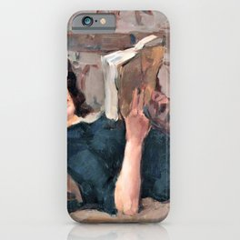 Isaac Lazarus Israels - Reading Woman On A Couch - Digital Remastered Edition iPhone Case