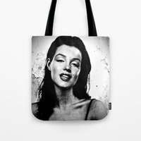 marilyn Tote Bags featuring Marilyn  by Saundra Myles
