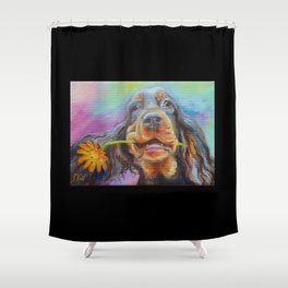 Black Valentine gift for Gordon Setter Dog Lover Shower Curtain