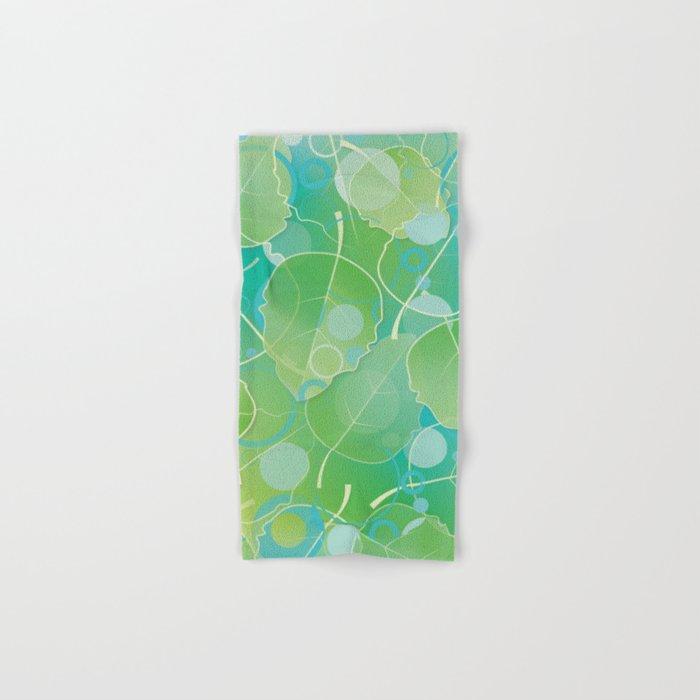 Floating Leaves Pattern I - Spring, Summer, Apple Green Hand & Bath Towel