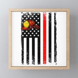 Firefighter Usa Flag American Vintage Red Line Axe Framed Mini Art Print