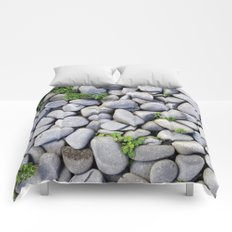 Sea Stones - Gray Rocks, Texture, Pattern Comforters