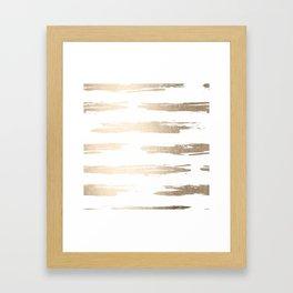 Simply Brushed Stripe White Gold Sands on White Framed Art Print