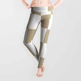 Large Checkered - White and Khaki Brown Leggings