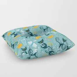 Mid century modern atomic style cats and cocktails Floor Pillow