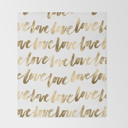Gold Love Quote Pattern Typography Script 2 Throw Blanket