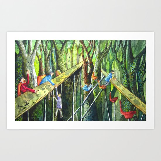 Meeting in the Woods Art Print