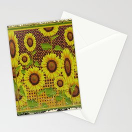 GRUBBY WORN BROWN SUNFLOWERS ART Stationery Cards